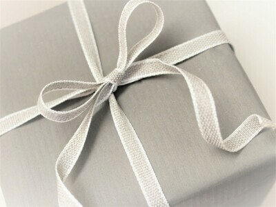 White Edged Linen Ribbon