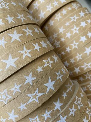 Stars Brown Paper Tape  18mm