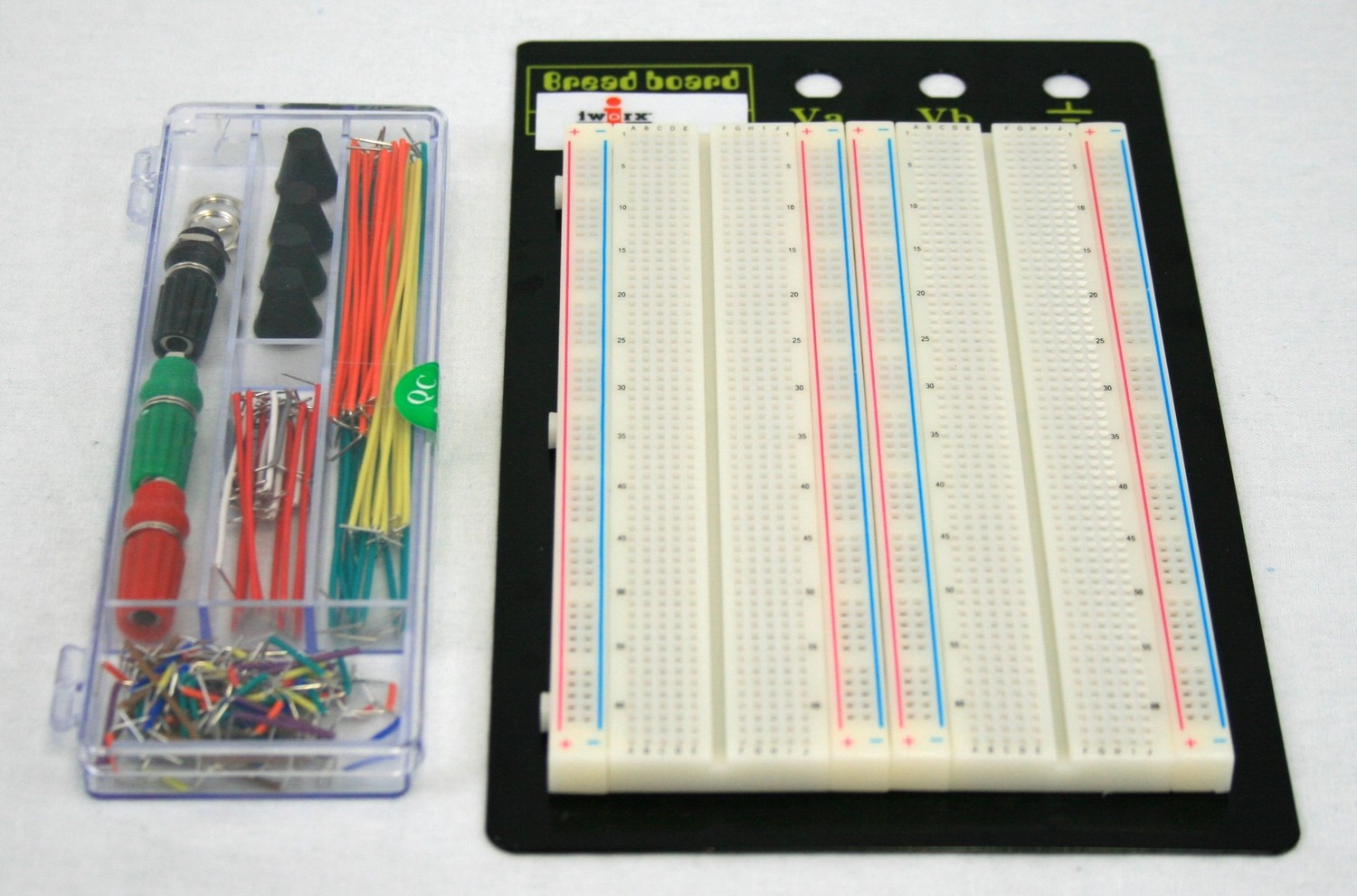 Breadboard with Jumpers: board area of 6.5in x 4.25""