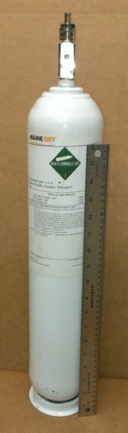 Calibration Gas Mix - 12% O2/5% CO2/bal N2 - Disposable Cylinder