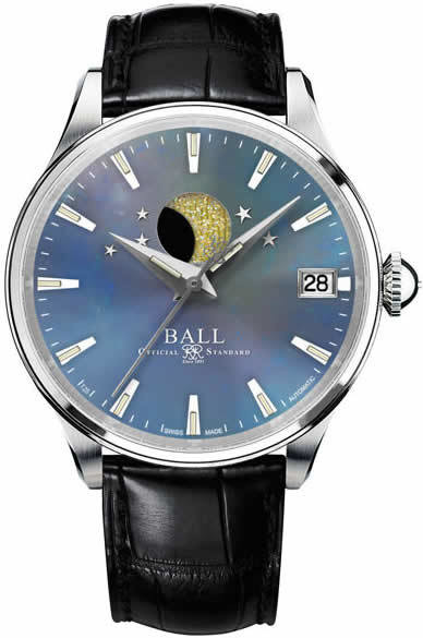 Ball Watch Trainmaster Moon Phase Ladies Blue MOP NL3082D-LJ-BE