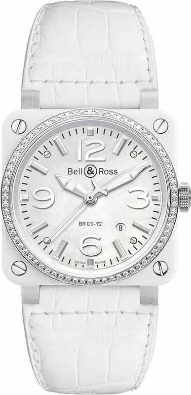 Bell & Ross BR03-92 White Ceramic & Diamond BR0392-WH-C-D-SCA