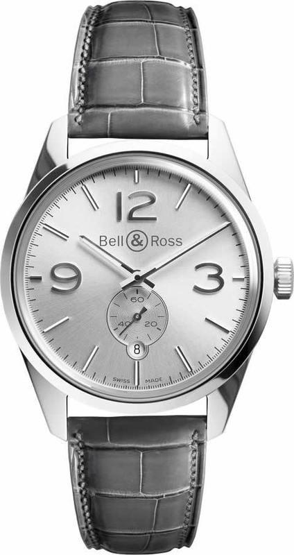 Bell & Ross BR123 Vintage Officer Silver BRG123-WH-ST-SCR