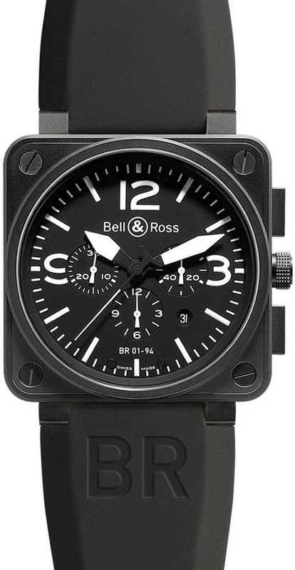 Bell & Ross BR01-94 Chronograph Carbon Finish Steel Instrument BR0194-BL-CA