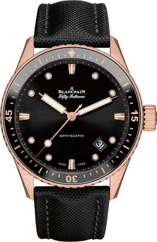 Blancpain Fifty Fathoms Bathyscaphe ceramic insert and Ceragold 5000-36S30-B52A