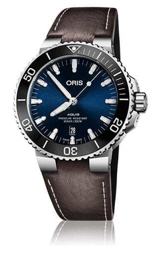 34f9489ac Oris Aquis Date Blue Dial on Brown Leather Strap - Exquisite Timepieces