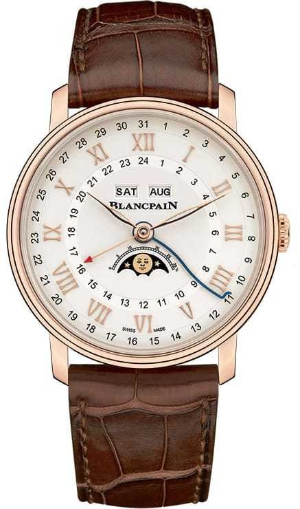 Blancpain Villeret Quantieme Complet GMT Red Gold on Strap 6676-3642-55B