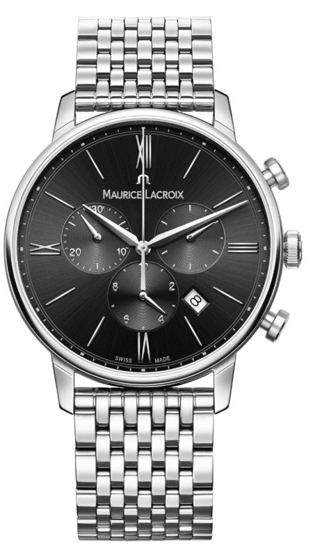 Maurice Lacroix Eliros Chronograph Black Dial on Steel Bracelet EL1098-SS002-310-2