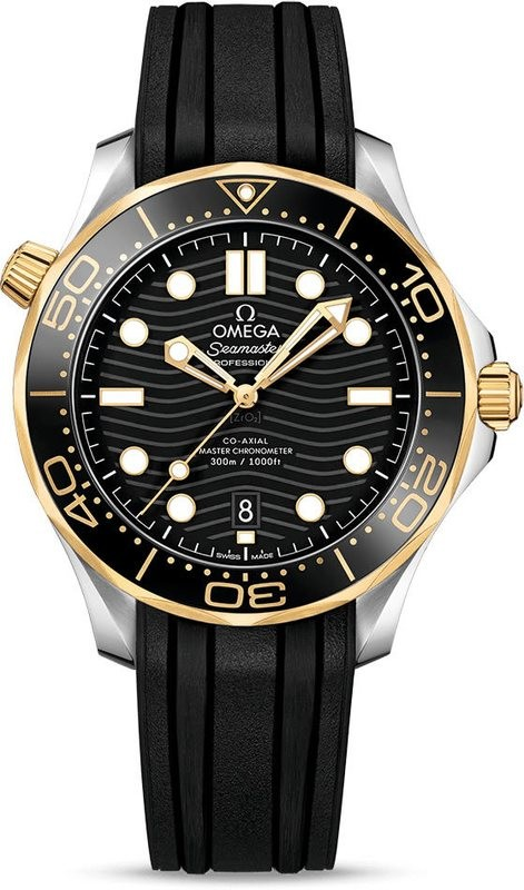 Omega Seamaster Diver 300M Co-Axial Master Chronometer Black Dial Yellow Gold on Strap