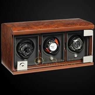 Underwood Watch Winder Three Module Unit Briarwood