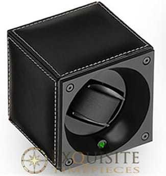 Swiss Kubik Watch Winder Single Black Calf Leather With White Stitches With Window Protect