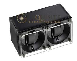 Swiss Kubik Watch Winder Double Black Calf Leather With White Stitching Window Protect