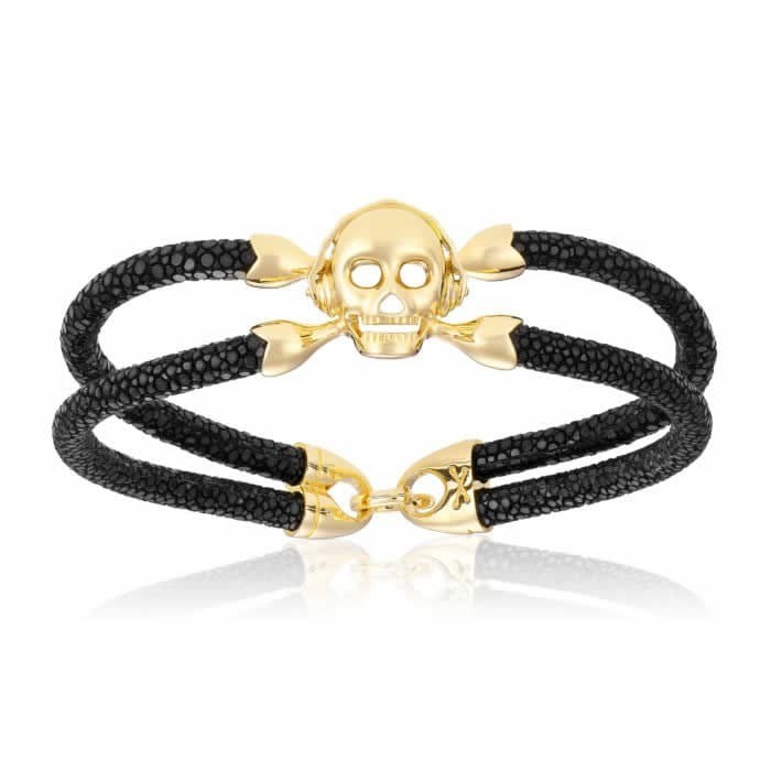 Double Bone Single Skull Black Stingray Bracelet With Yellow Gold Skull
