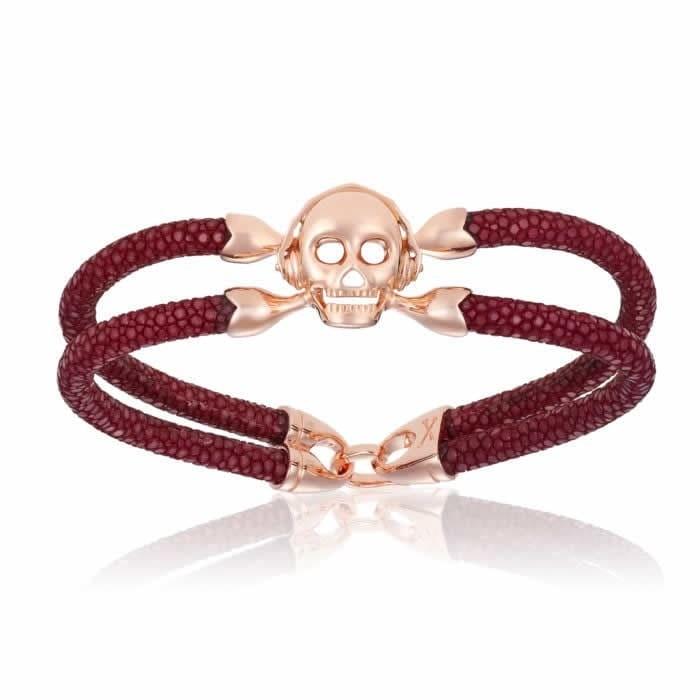Double Bone Single Skull Red Wine Stingray Bracelet With Rose Gold Skull