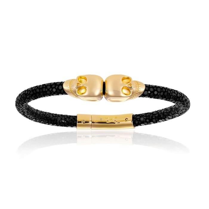 Double Bone Double Skull Black Stingray Bracelet With Yellow Gold Skull