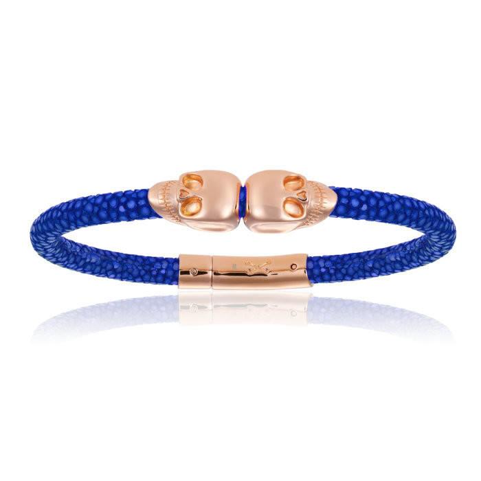 Double Bone Double Skull Blue Stingray Bracelet With Rose Gold Skull