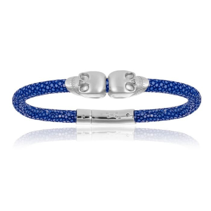 Double Bone Double Skull Blue Stingray Bracelet With Silver Skull