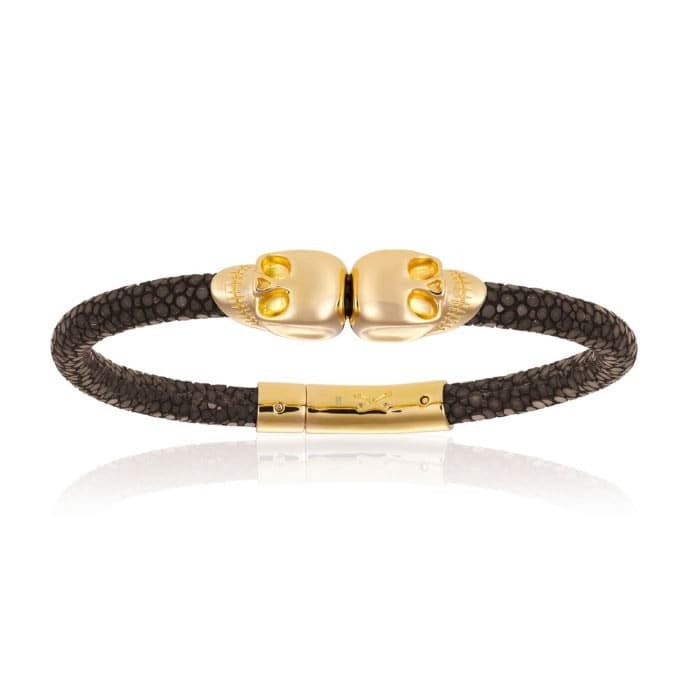 Double Bone Double Skull Brown Stingray Bracelet With Yellow Gold Skull