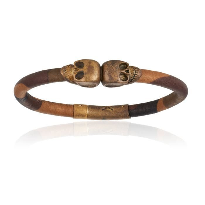 Double Bone Double Skull Camouflage Leather Bracelet With Antique Brass Skull