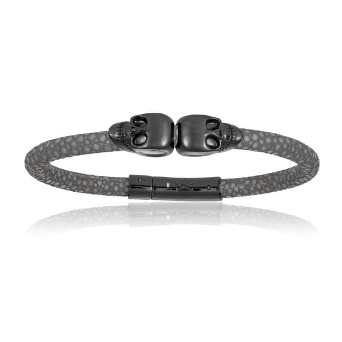 Double Bone Double Skull Gray Stingray Bracelet With Black Skull