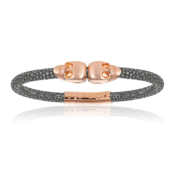 Double Bone Double Skull Gray Stingray Bracelet With Pink Gold Skull