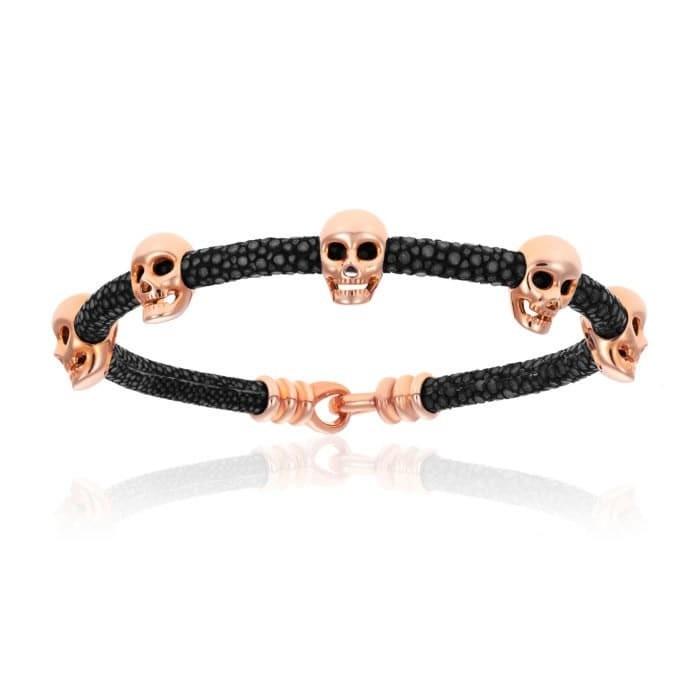 Double Bone Multi Skull Black Stingray Bracelet With Pink Gold Skull
