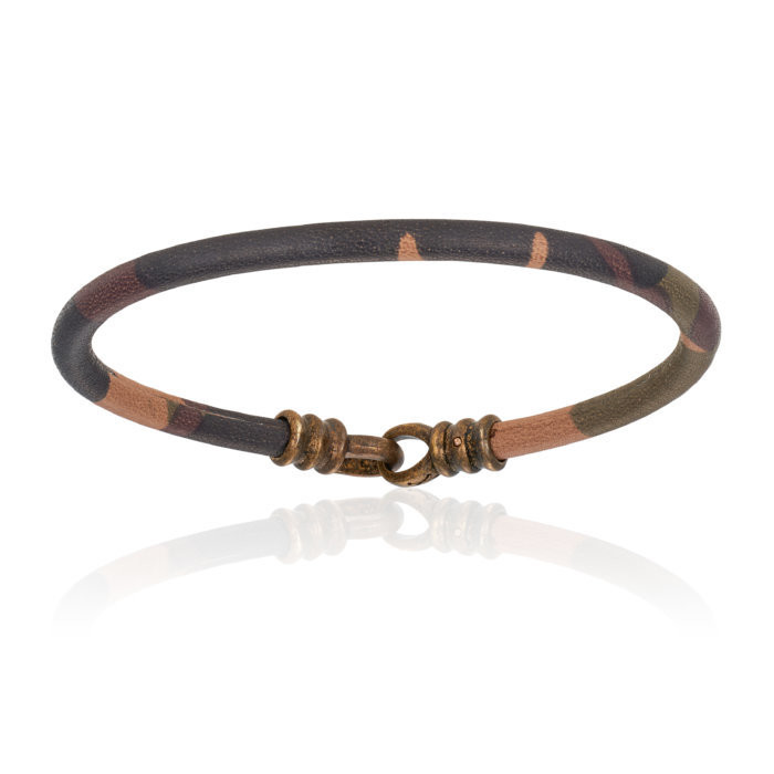 Double Bone Single Stingray Camouflage Leather Bracelet Unisex