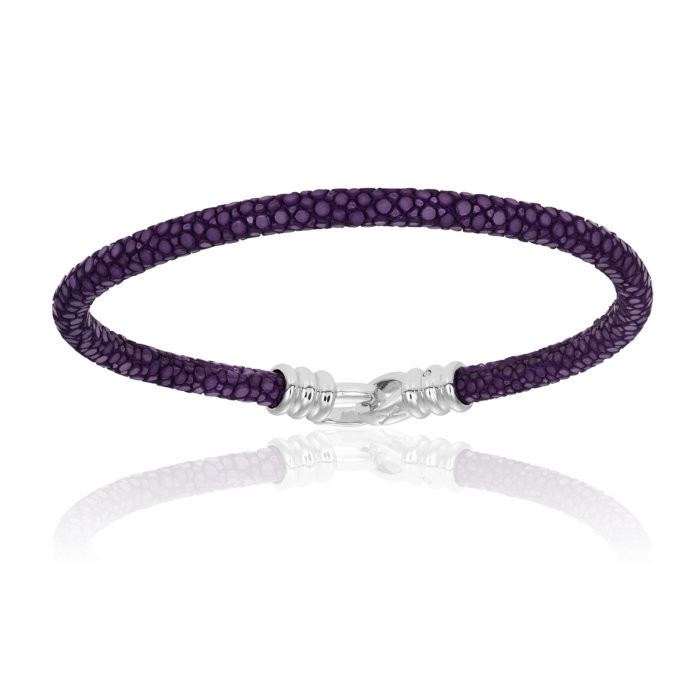 Double Bone Single Stingray Purple Bracelet Unisex