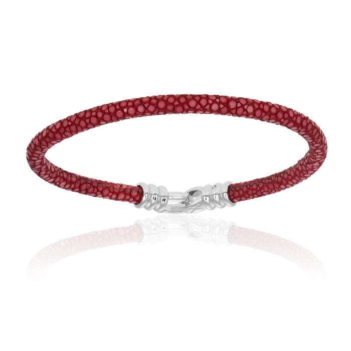 Double Bone Single Stingray Red Wine Bracelet Unisex