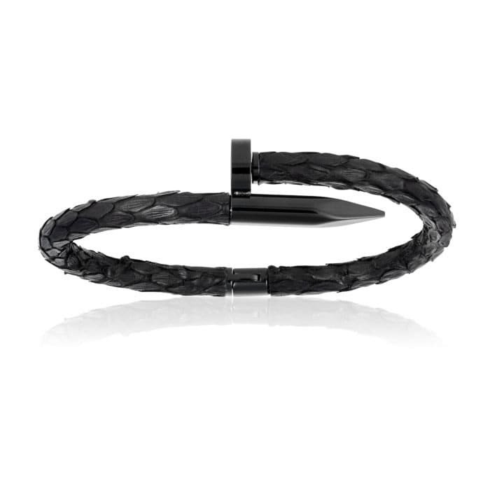 Double Bone Black Python Bracelet with PVD Black Nail