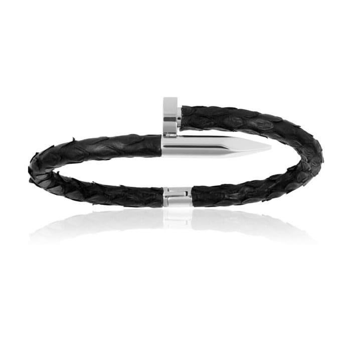 Double Bone Black Python Bracelet with Silver Nail