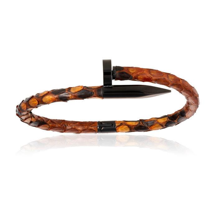 Double Bone Brown Python Bracelet with PVD Black Nail Men's
