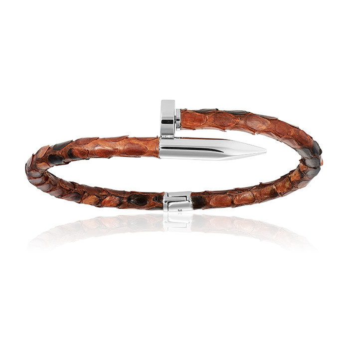 Double Bone Brown Python Bracelet with PVD Rose Gold Nail Unisex