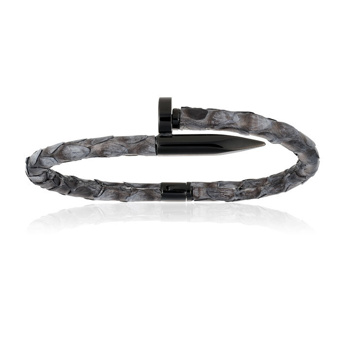 Double Bone Gray Python Bracelet with PVD Black Nail Unisex