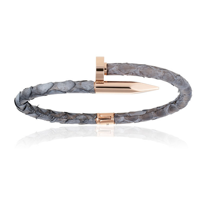 Double Bone Gray Python Bracelet with PVD Rose Gold Nail Unisex