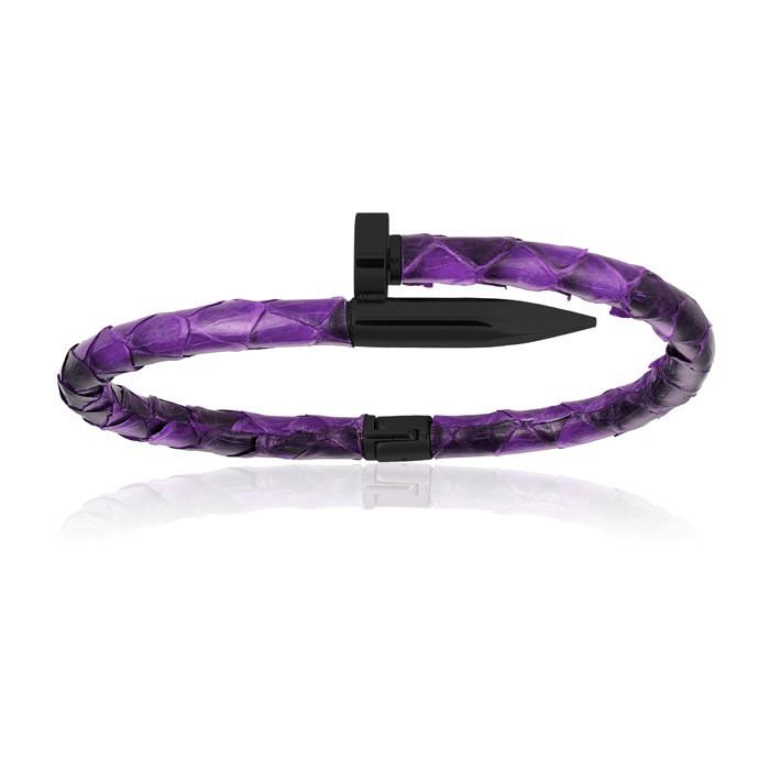 Double Bone Purple Python Bracelet with PVD Black Nail Man