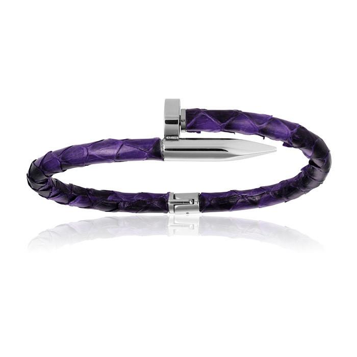 Double Bone Purple Python Bracelet with PVD Silver Nail Woman