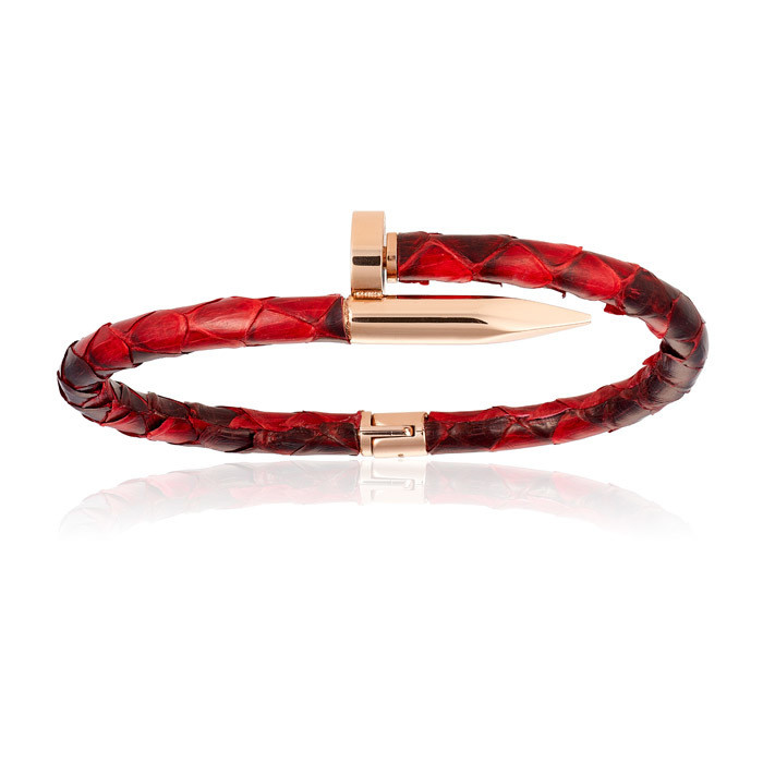 Double Bone Red Python Bracelet with PVD Gold Nail Man