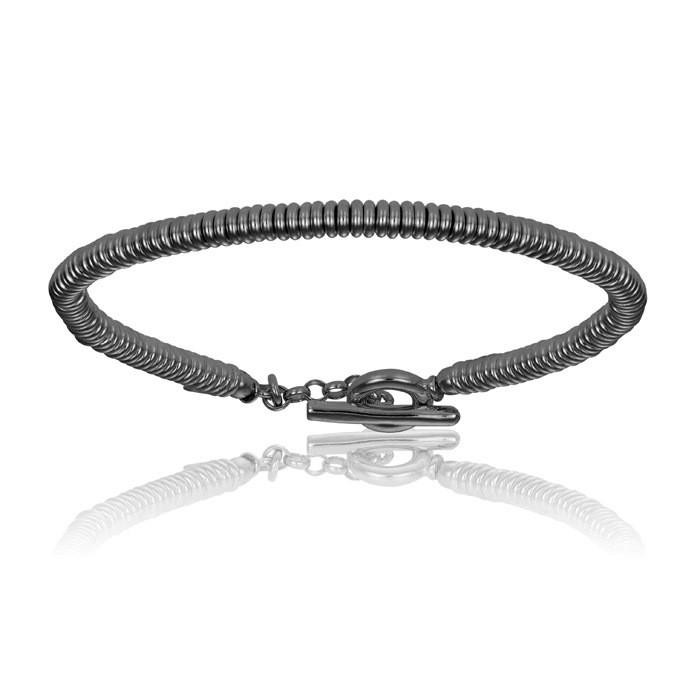 Double Bone Black PVD Bracelet with Black Beads Unisex