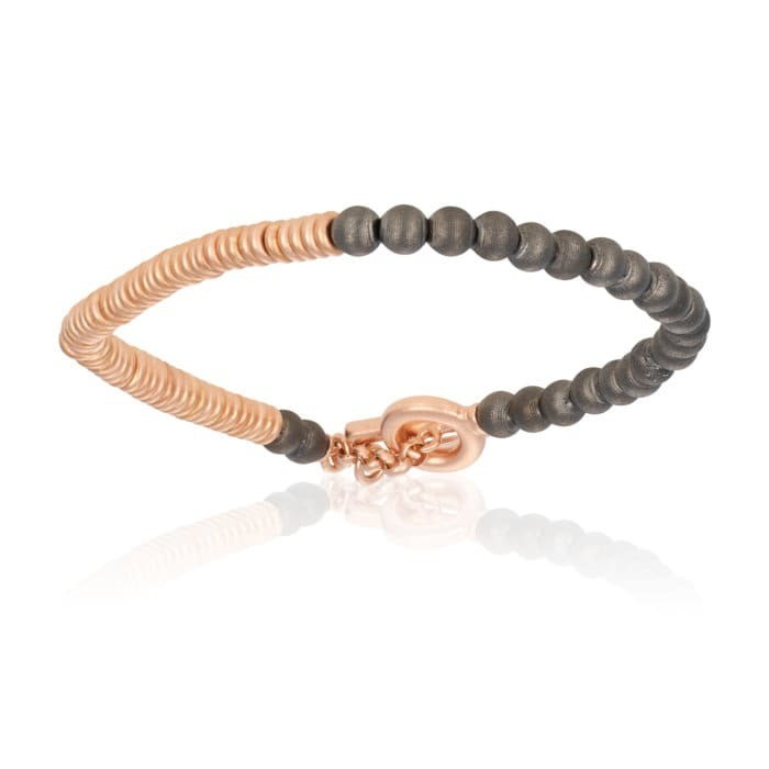 Double Bone Medium Beads Black & Rose Gold PVD Flat Round Bracelet With Black Beads