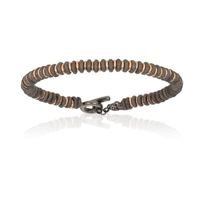 Double Bone Medium Beads Black PVD Bracelet with Rose Gold Beads