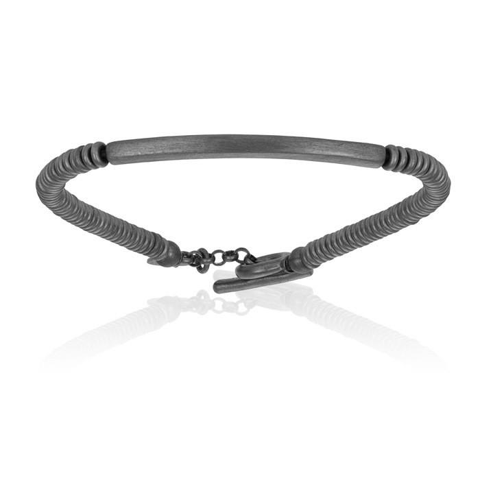Double Bone Medium Beads Black PVD Bracelet with Tag Beads Unisex