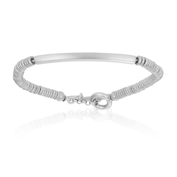 Double Bone Medium Beads White Gold Bracelet with Tag Beads Unisex