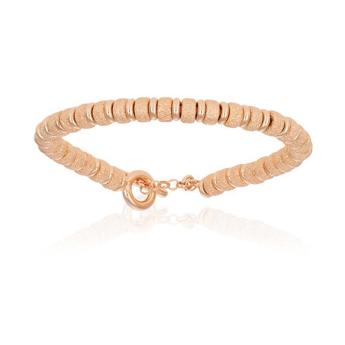 Double Bone Big Beads Rose Gold Bracelet With Rose Gold Beads Unisex