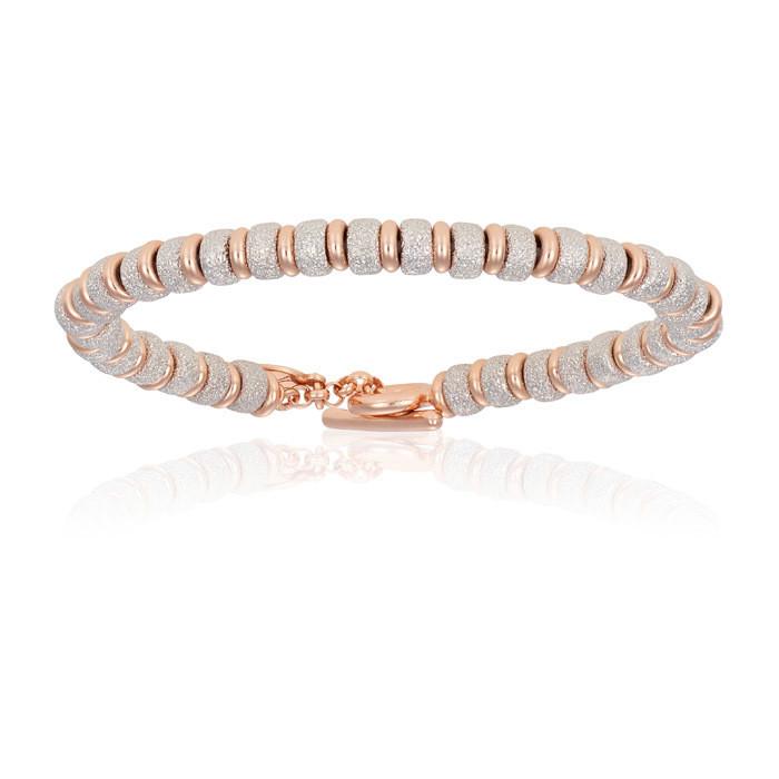 Double Bone Big Beads Rose Gold Bracelet With White Gold Beads Unisex