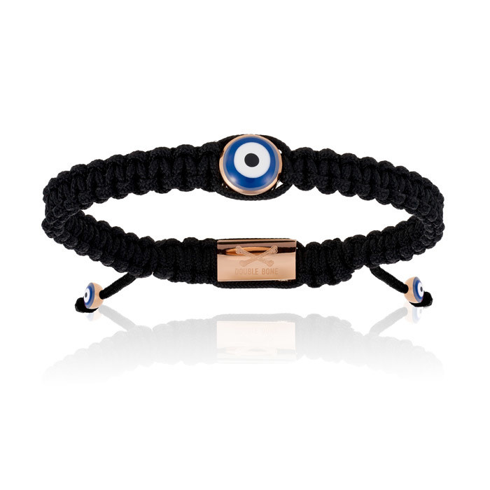 Double Bone Single Eye Black Nylon Bracelet With Pink Gold Eye Unisex