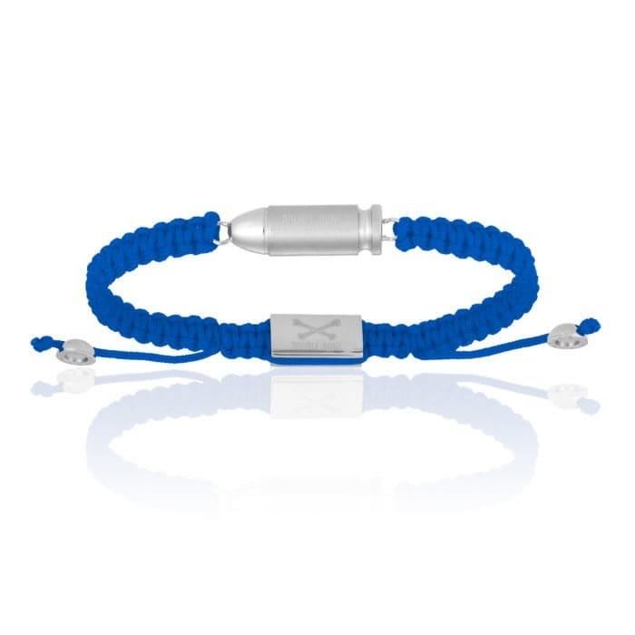 Double Bone Blue Nylon Bracelet With Stainless Steel Bang
