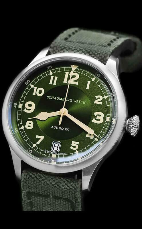 Schaumburg Watch FlightMatic 1930 Big Date Green