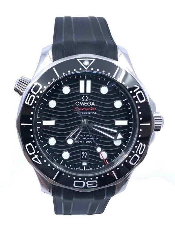 Omega Seamaster Diver 300M Co-Axial Master Chronometer Black Dial on Rubber Strap 210.32.42.20.01.001