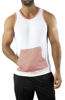 Vuthy Kangaroo Tank Muscle Shirt - Red Stripes